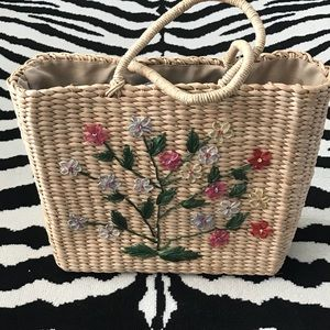 Straw Floral Hand-basket Tote